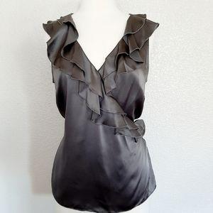 Saks Fifth Avenue Silk Gray Ruffle Blouse
